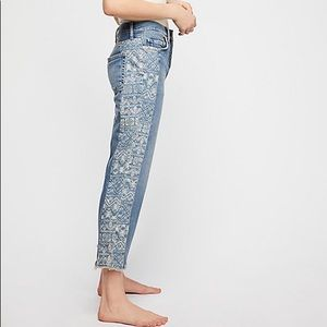 Free People  Side Stripe Boyfriend Jeans